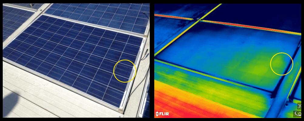 Termografia bava di lumaca su moduli fotovoltaici - Stadio di evoluzione iniziale
