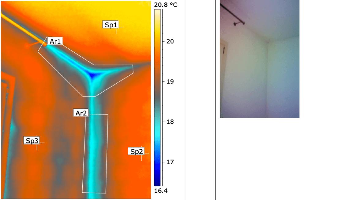 Termografia muffa e condensa angolo solaio-parete