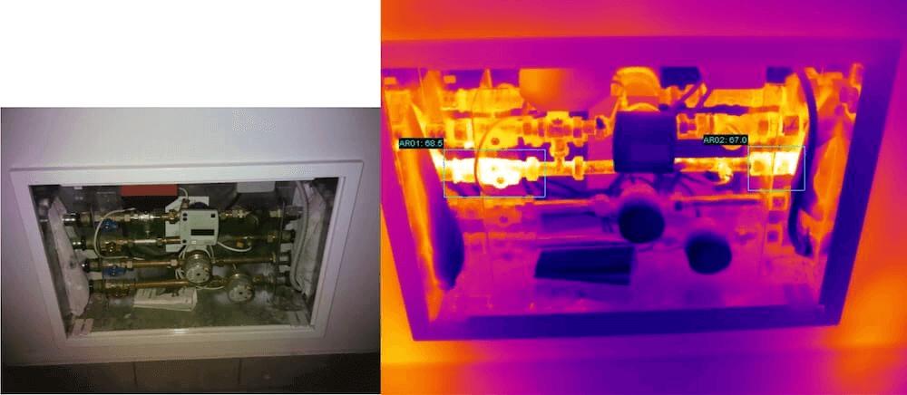 Termografia impianti riscaldamento Cassetta di distribuzione