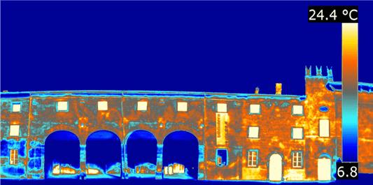 Termografia distacco di intonaco edificio storico