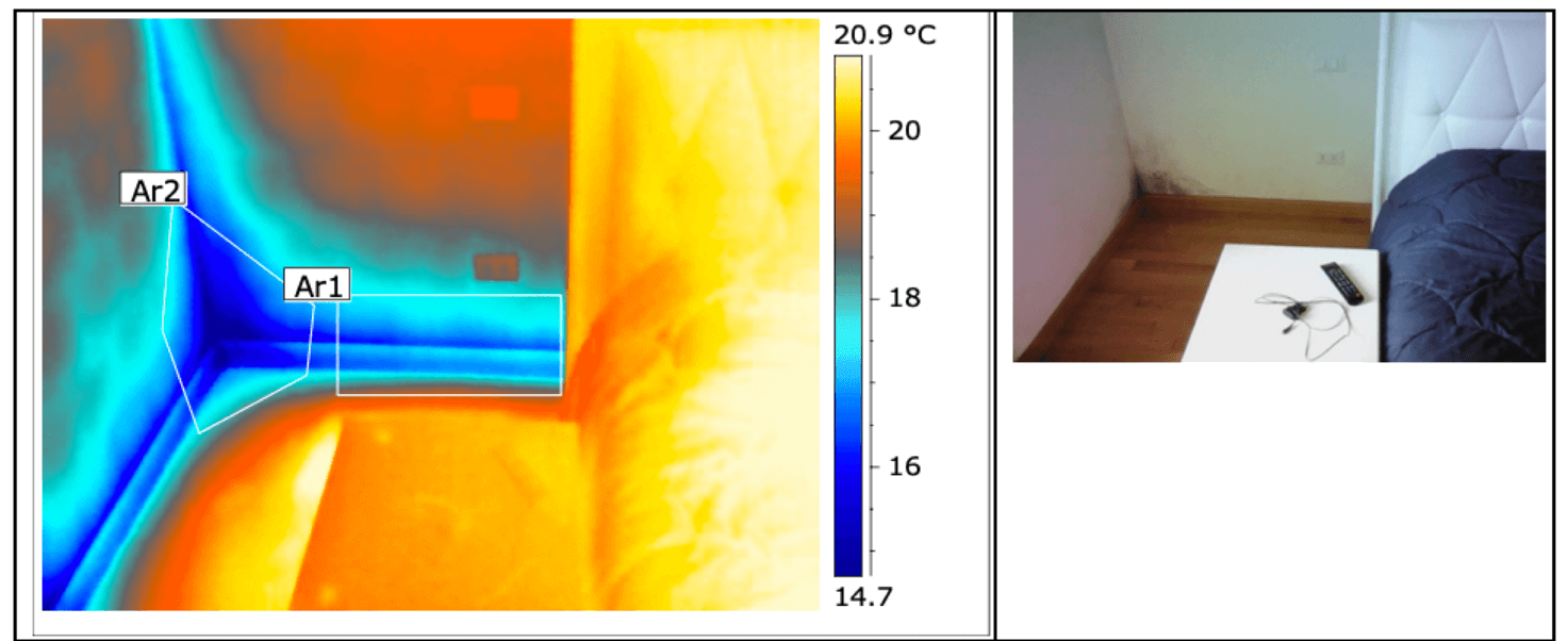 Termografia muffa e condensa spigolo pavimento-parete