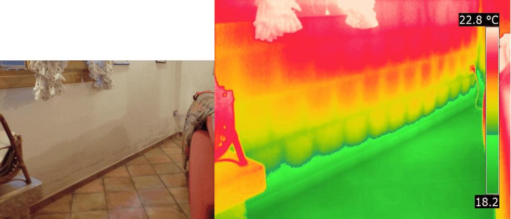Termografia muffa e condensa pavimento taverna bagnato
