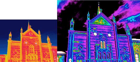 Termografia distacco di intonaco prospetto chiesa