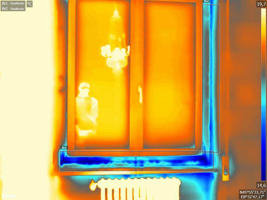 Termografia serramenti - Finestra con problemi di isolamento