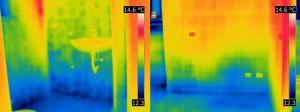 Termografia umidità di risalita in un bagno